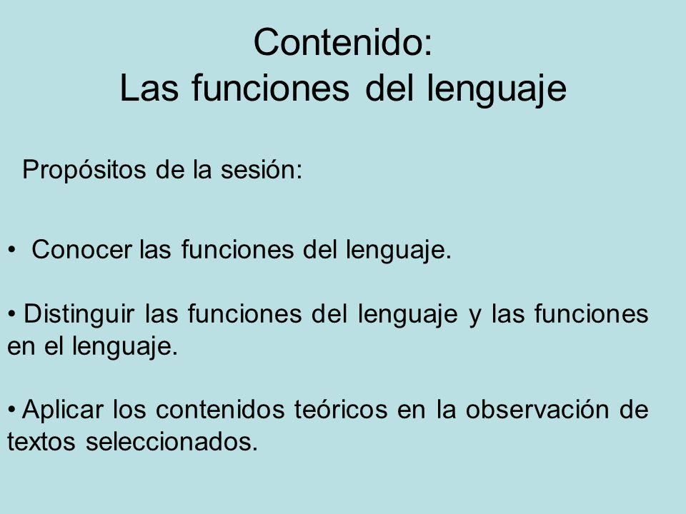 Contenido: Las funciones del lenguaje Propósitos de la sesión: Conocer las funciones del lenguaje. Distinguir las funciones del lenguaje y las funcion