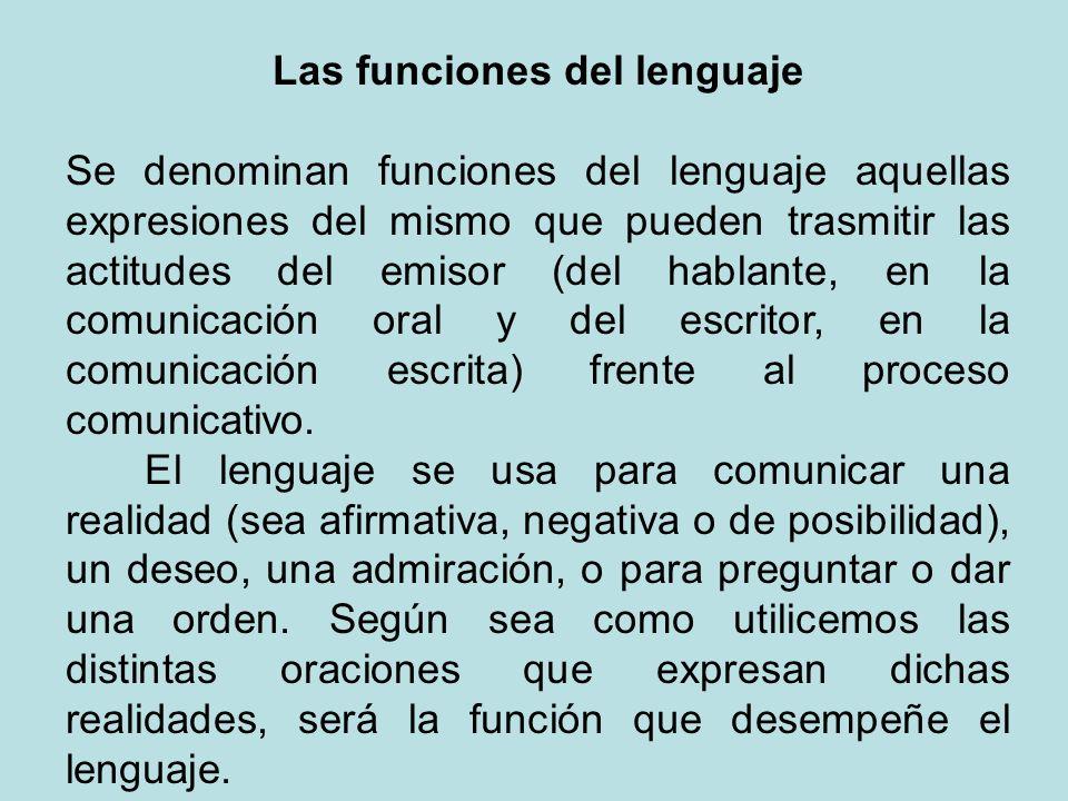 Las funciones del lenguaje Se denominan funciones del lenguaje aquellas expresiones del mismo que pueden trasmitir las actitudes del emisor (del habla