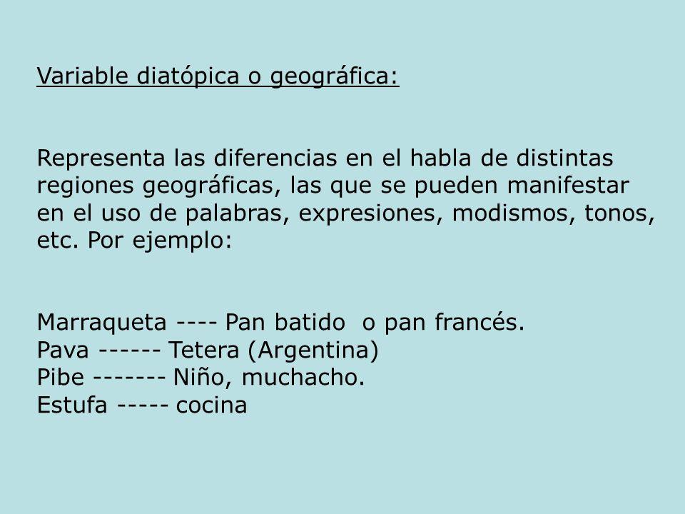 Variable diatópica o geográfica: Representa las diferencias en el habla de distintas regiones geográficas, las que se pueden manifestar en el uso de p