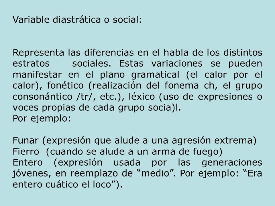 Variable diastrática o social: Representa las diferencias en el habla de los distintos estratos sociales. Estas variaciones se pueden manifestar en el