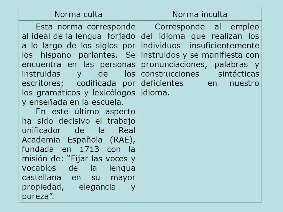 Norma culta formalNorma inculta formal Se emplea en situaciones formales cuando una persona culta habla con otra igualmente culta, en una conferencia, en una clase y, en general, en una situación protocolar.