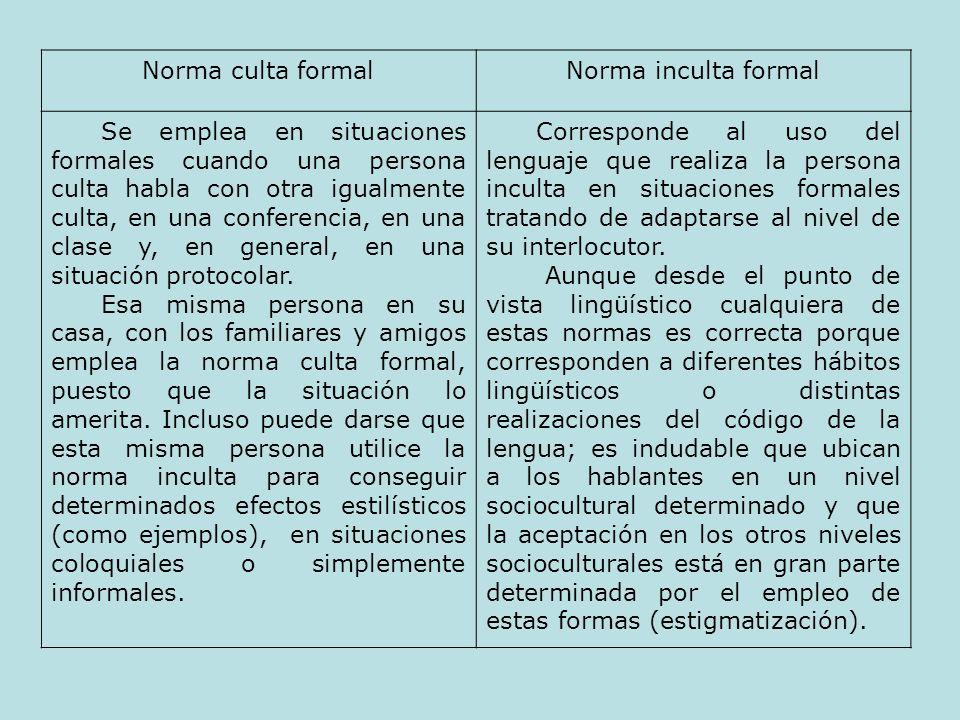 Norma culta formalNorma inculta formal Se emplea en situaciones formales cuando una persona culta habla con otra igualmente culta, en una conferencia,