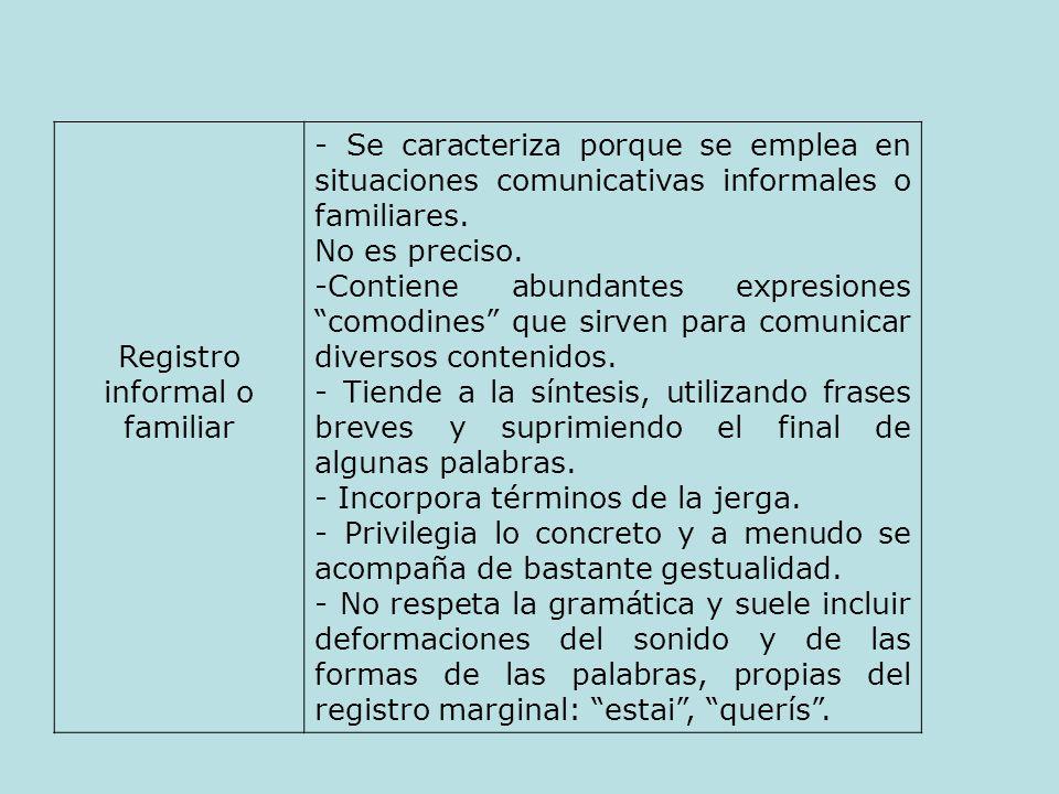 Registro informal o familiar - Se caracteriza porque se emplea en situaciones comunicativas informales o familiares. No es preciso. -Contiene abundant