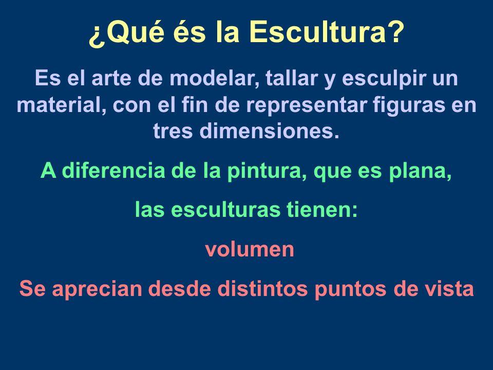 ¿Qué és la Escultura? Es el arte de modelar, tallar y esculpir un material, con el fin de representar figuras en tres dimensiones. A diferencia de la