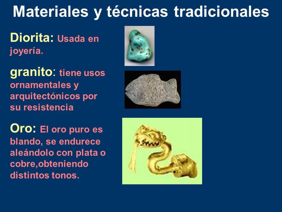 Diorita: Usada en joyería. granito: tiene usos ornamentales y arquitectónicos por su resistencia Oro: El oro puro es blando, se endurece aleándolo con