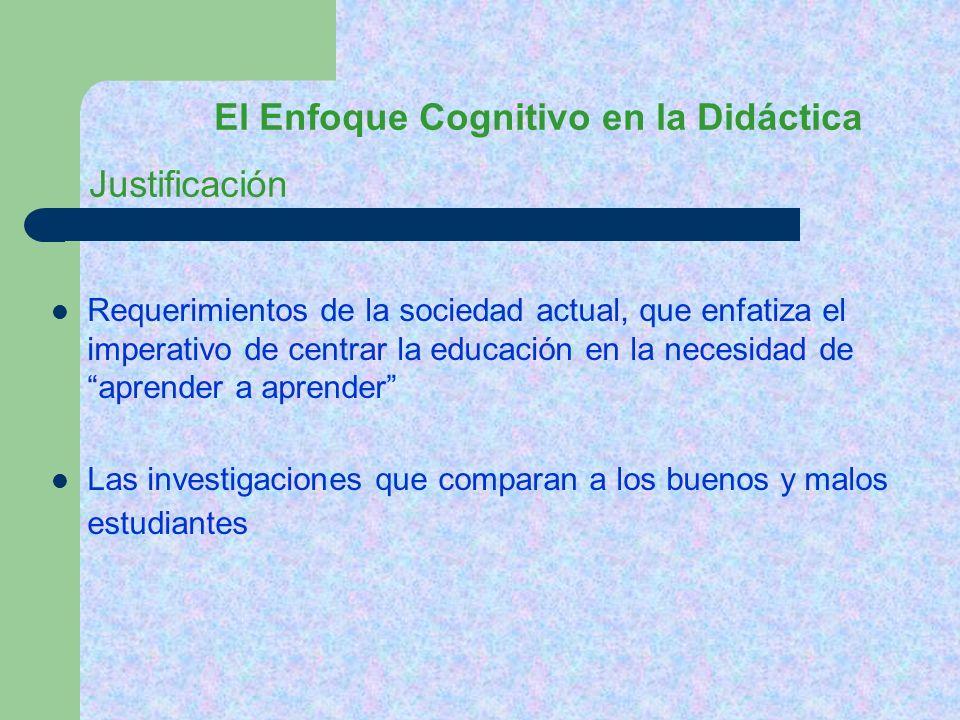El Enfoque Cognitivo en la Didáctica Requerimientos de la sociedad actual, que enfatiza el imperativo de centrar la educación en la necesidad de apren