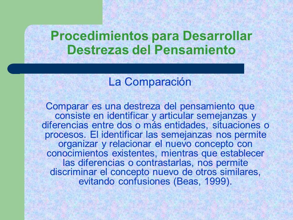 Procedimientos para Desarrollar Destrezas del Pensamiento Pasos a seguir para desarrollar la Comparación: 1.