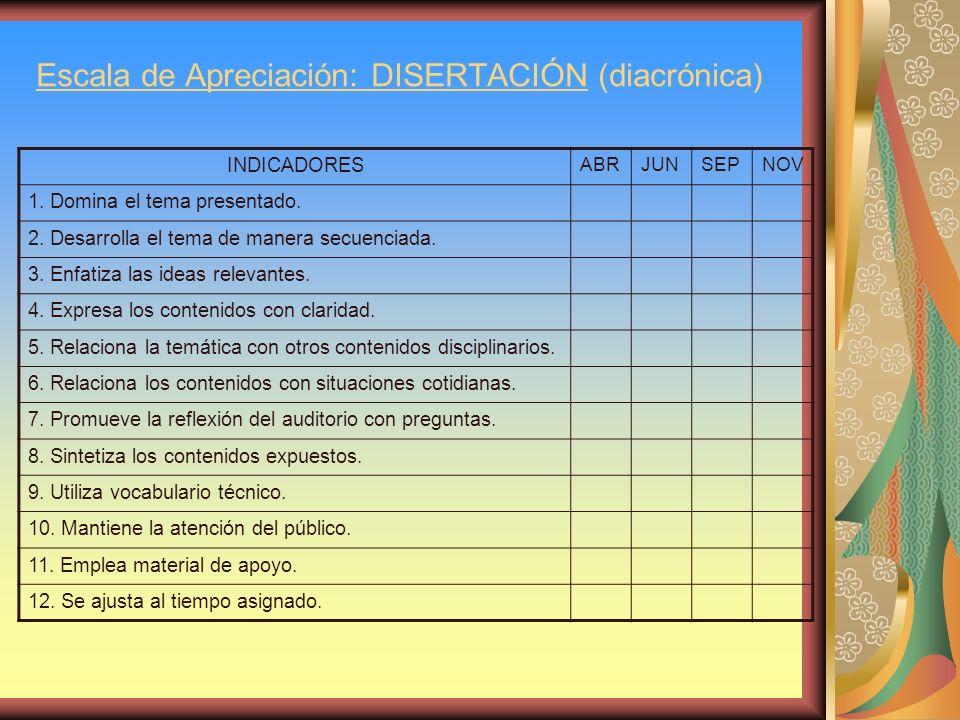 Escala de Apreciación: DISERTACIÓN (diacrónica) INDICADORES ABRJUNSEPNOV 1. Domina el tema presentado. 2. Desarrolla el tema de manera secuenciada. 3.