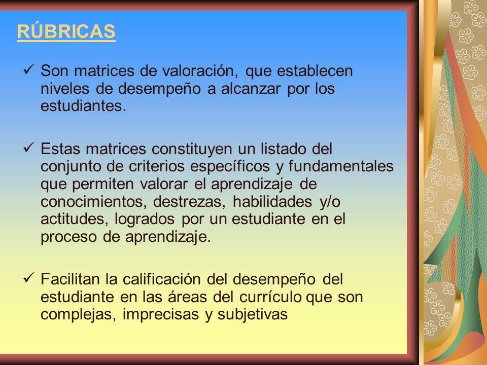 RÚBRICAS Son matrices de valoración, que establecen niveles de desempeño a alcanzar por los estudiantes. Estas matrices constituyen un listado del con