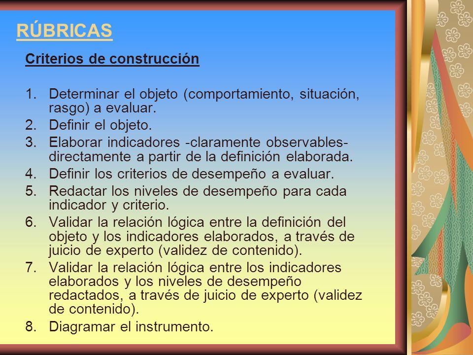 RÚBRICAS Criterios de construcción 1.Determinar el objeto (comportamiento, situación, rasgo) a evaluar. 2.Definir el objeto. 3.Elaborar indicadores -c