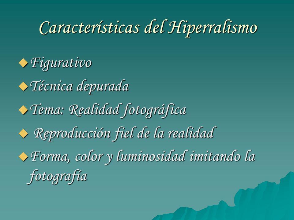 Características del Hiperralismo Figurativo Figurativo Técnica depurada Técnica depurada Tema: Realidad fotográfica Tema: Realidad fotográfica Reprodu