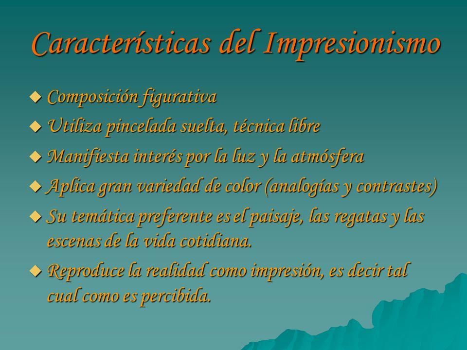 Características del Impresionismo Composición figurativa Composición figurativa Utiliza pincelada suelta, técnica libre Utiliza pincelada suelta, técn