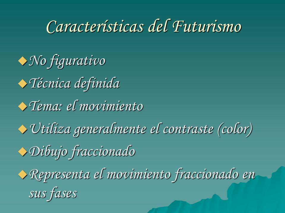 Características del Futurismo No figurativo No figurativo Técnica definida Técnica definida Tema: el movimiento Tema: el movimiento Utiliza generalmen