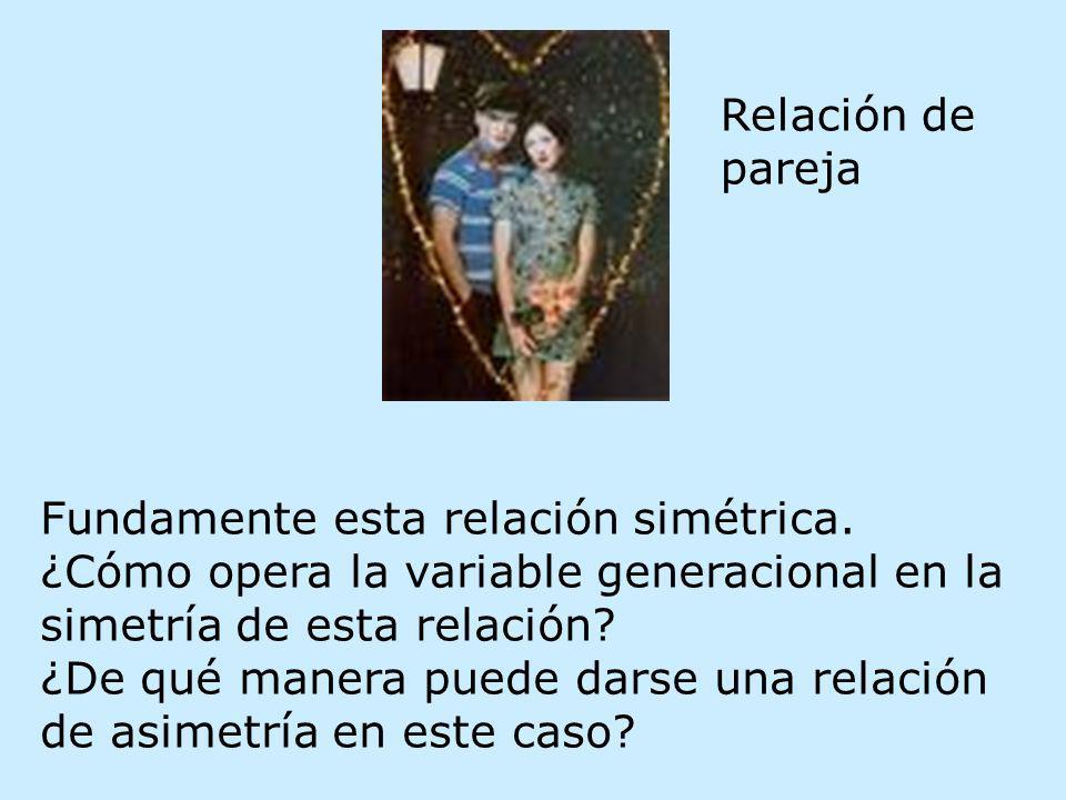 Fundamente esta relación simétrica. ¿Cómo opera la variable generacional en la simetría de esta relación? ¿De qué manera puede darse una relación de a