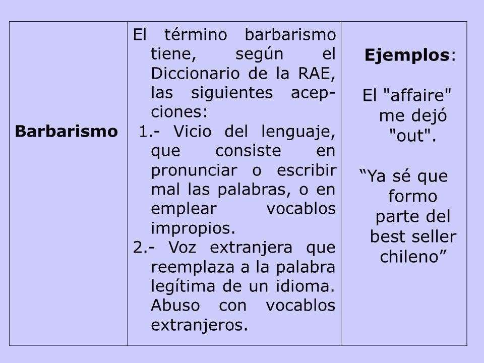 Imprecisión léxica Falta de propiedad en el uso de las palabras. Empleo de palabras con significado o función distinto del que tienen. Incorrecto:
