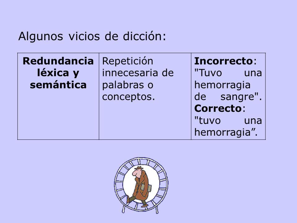 Algunos vicios de dicción: Redundancia léxica y semántica Repetición innecesaria de palabras o conceptos.