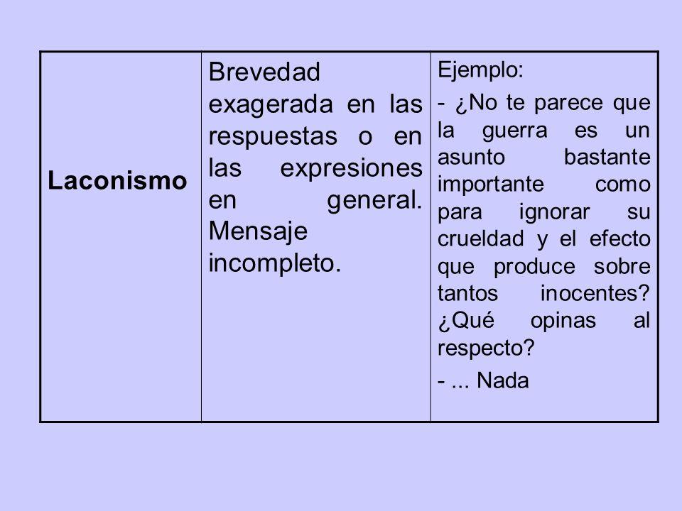 Laconismo Brevedad exagerada en las respuestas o en las expresiones en general.