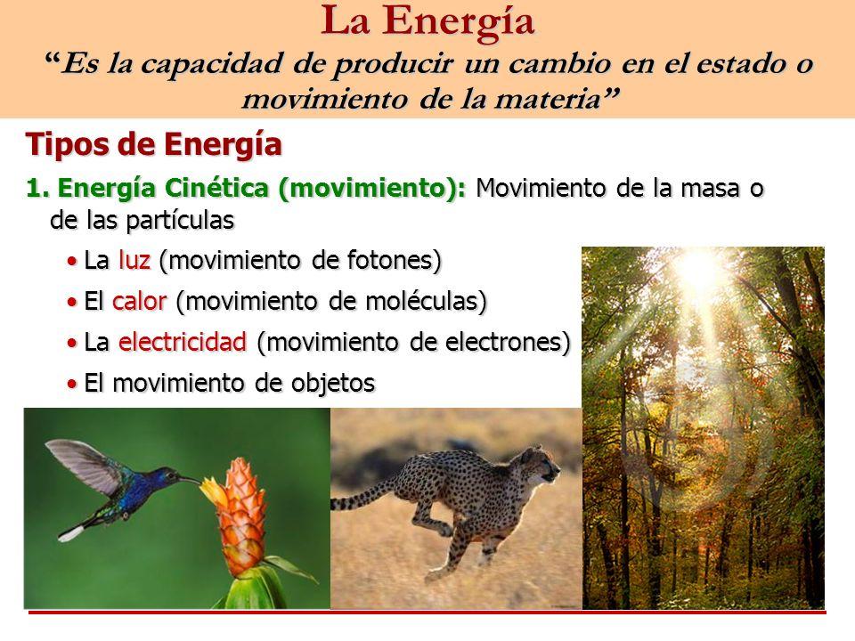 La EnergíaEs la capacidad de producir un cambio en el estado o movimiento de la materia Tipos de Energía 1. Energía Cinética (movimiento): Movimiento