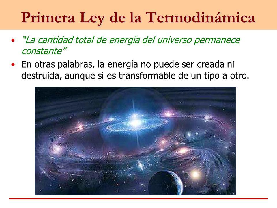 La cantidad total de energía del universo permanece constante En otras palabras, la energía no puede ser creada ni destruida, aunque si es transformab