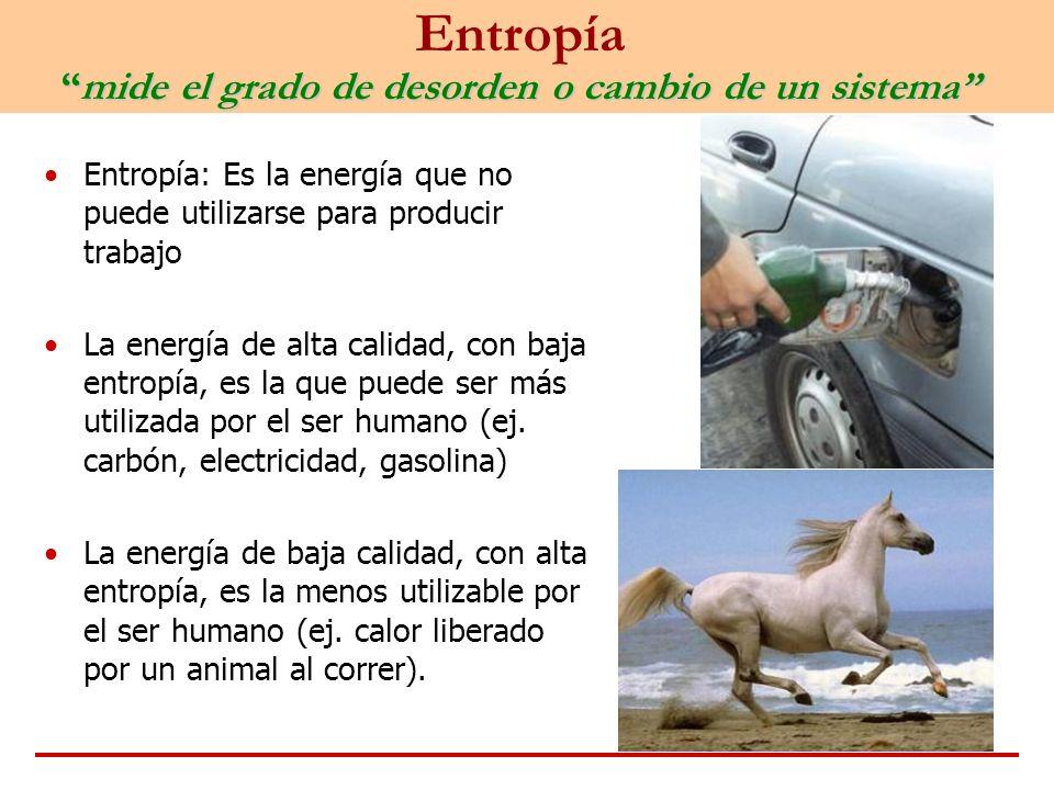 mide el grado de desorden o cambio de un sistema Entropíamide el grado de desorden o cambio de un sistema Entropía: Es la energía que no puede utiliza