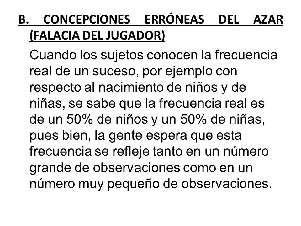 B. CONCEPCIONES ERRÓNEAS DEL AZAR (FALACIA DEL JUGADOR) Cuando los sujetos conocen la frecuencia real de un suceso, por ejemplo con respecto al nacimi