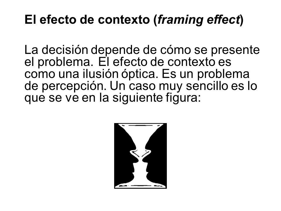El efecto de contexto (framing effect) La decisión depende de cómo se presente el problema. El efecto de contexto es como una ilusión óptica. Es un pr