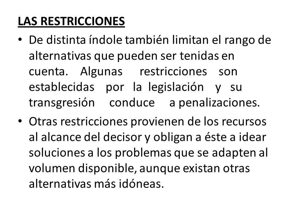 LAS RESTRICCIONES De distinta índole también limitan el rango de alternativas que pueden ser tenidas en cuenta. Algunas restricciones son establecidas