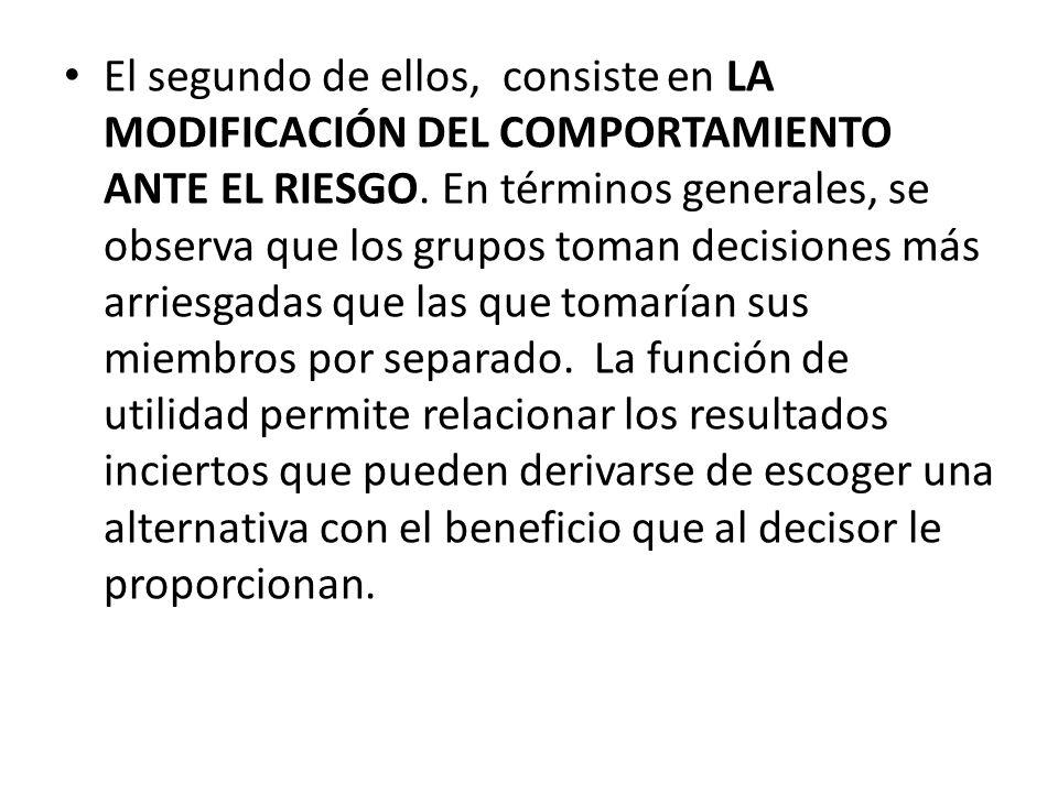 El segundo de ellos, consiste en LA MODIFICACIÓN DEL COMPORTAMIENTO ANTE EL RIESGO. En términos generales, se observa que los grupos toman decisiones