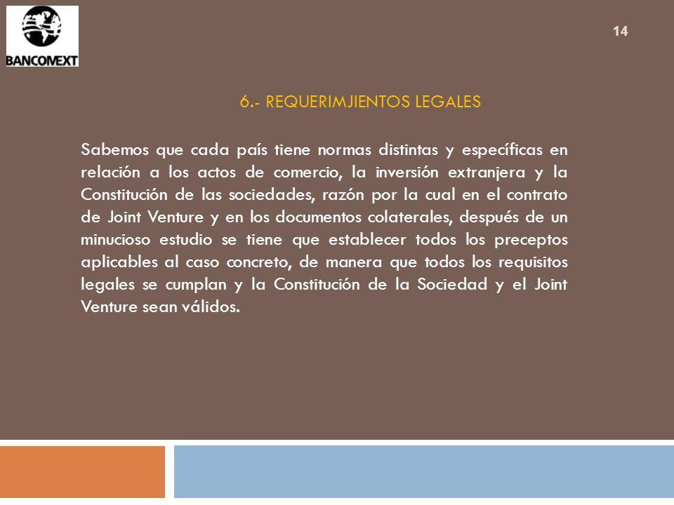 6.- REQUERIMJIENTOS LEGALES Sabemos que cada país tiene normas distintas y específicas en relación a los actos de comercio, la inversión extranjera y
