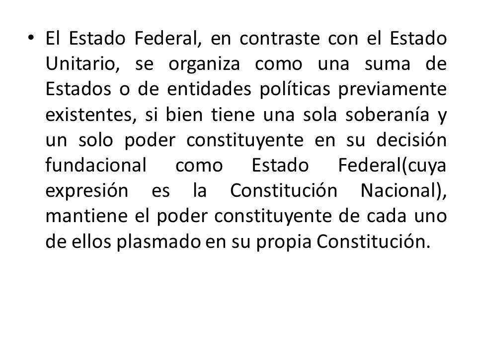 El Estado Federal, en contraste con el Estado Unitario, se organiza como una suma de Estados o de entidades políticas previamente existentes, si bien