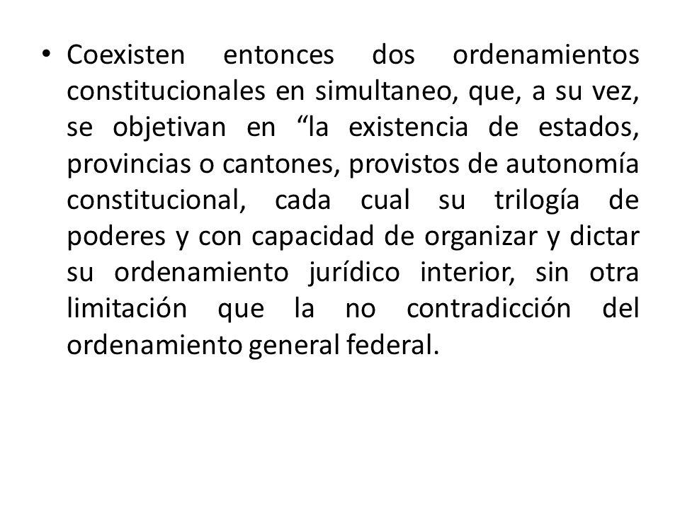 Coexisten entonces dos ordenamientos constitucionales en simultaneo, que, a su vez, se objetivan en la existencia de estados, provincias o cantones, p