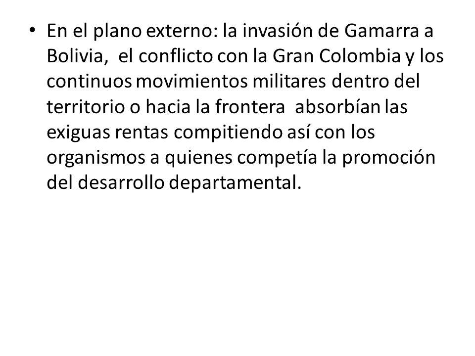 En el plano externo: la invasión de Gamarra a Bolivia, el conflicto con la Gran Colombia y los continuos movimientos militares dentro del territorio o