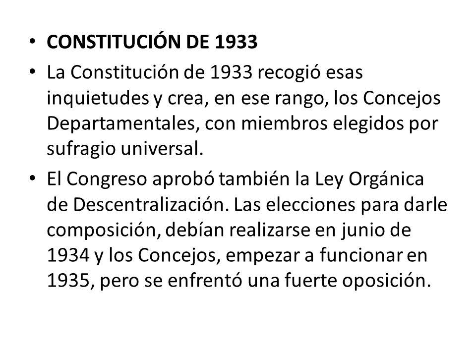 CONSTITUCIÓN DE 1933 La Constitución de 1933 recogió esas inquietudes y crea, en ese rango, los Concejos Departamentales, con miembros elegidos por su