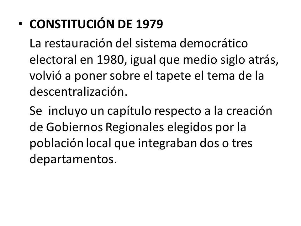 CONSTITUCIÓN DE 1979 La restauración del sistema democrático electoral en 1980, igual que medio siglo atrás, volvió a poner sobre el tapete el tema de