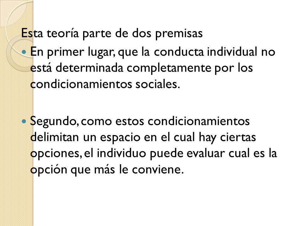 Esta teoría parte de dos premisas En primer lugar, que la conducta individual no está determinada completamente por los condicionamientos sociales. Se