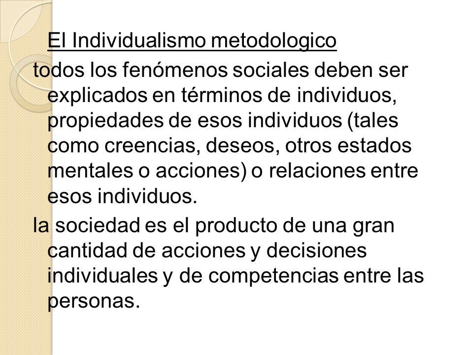El Individualismo metodologico todos los fenómenos sociales deben ser explicados en términos de individuos, propiedades de esos individuos (tales como