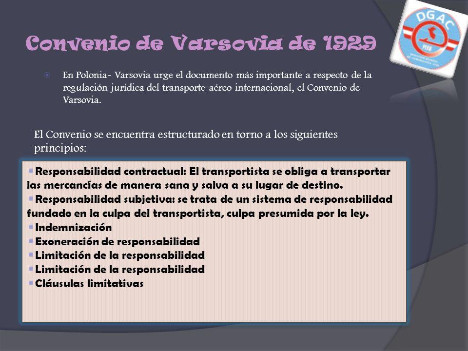 Convenio de Varsovia de 1929 En Polonia- Varsovia urge el documento más importante a respecto de la regulación jurídica del transporte aéreo internaci