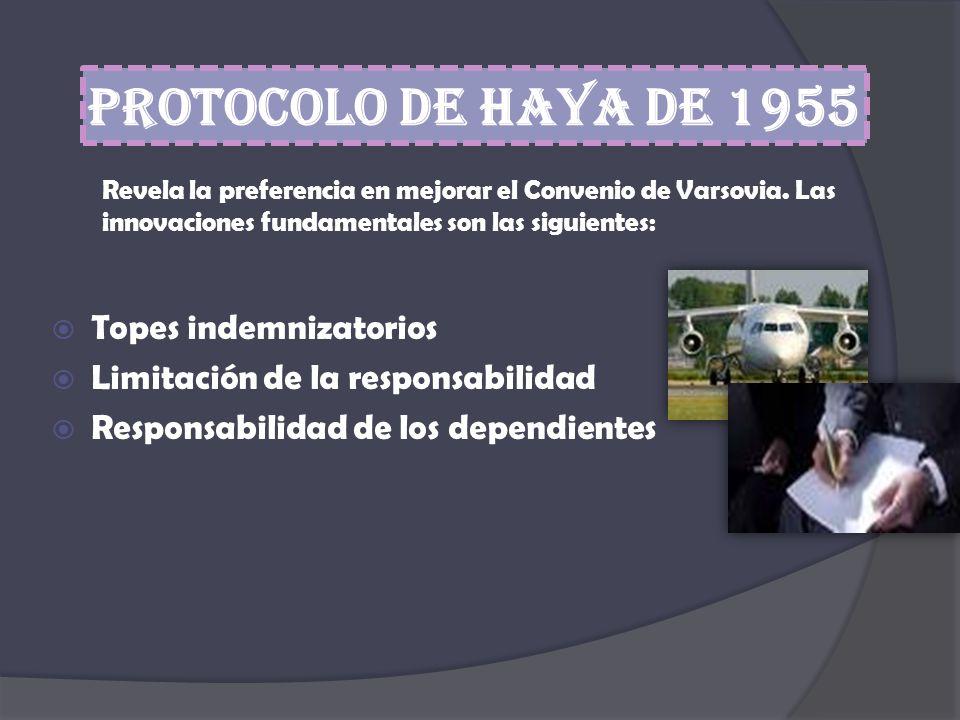Protocolo de Haya de 1955 Revela la preferencia en mejorar el Convenio de Varsovia. Las innovaciones fundamentales son las siguientes: Topes indemniza
