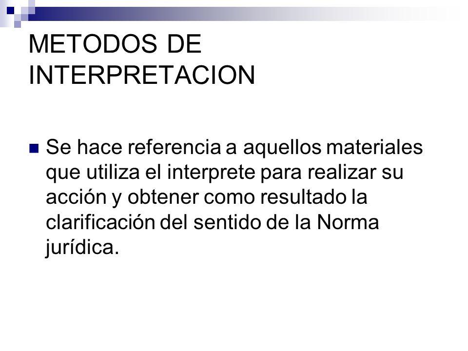 METODOS DE INTERPRETACION Se hace referencia a aquellos materiales que utiliza el interprete para realizar su acción y obtener como resultado la clari