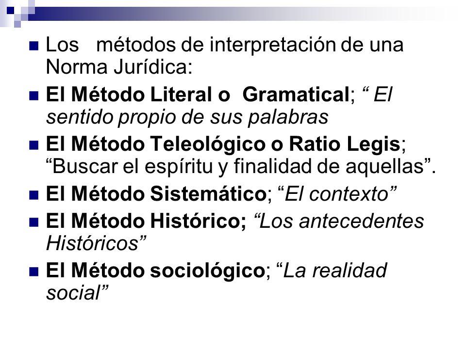 Los métodos de interpretación de una Norma Jurídica: El Método Literal o Gramatical; El sentido propio de sus palabras El Método Teleológico o Ratio L