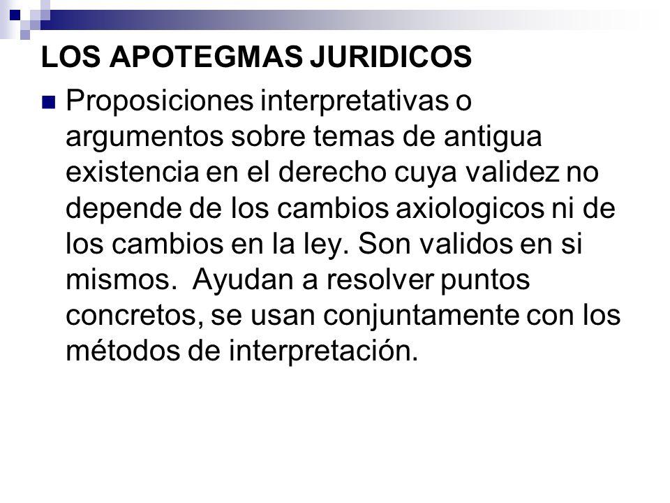 LOS APOTEGMAS JURIDICOS Proposiciones interpretativas o argumentos sobre temas de antigua existencia en el derecho cuya validez no depende de los camb