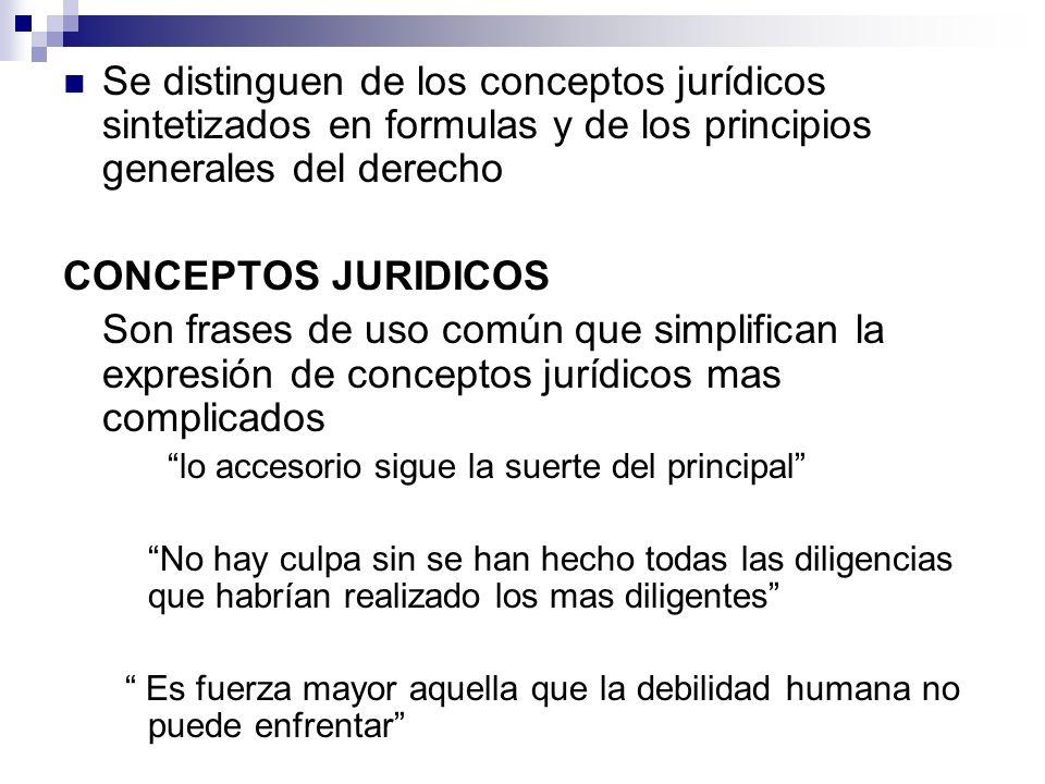 Se distinguen de los conceptos jurídicos sintetizados en formulas y de los principios generales del derecho CONCEPTOS JURIDICOS Son frases de uso comú