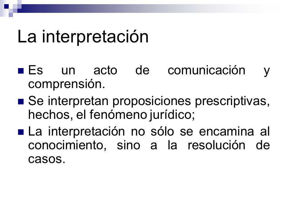 La interpretación Es un acto de comunicación y comprensión. Se interpretan proposiciones prescriptivas, hechos, el fenómeno jurídico; La interpretació