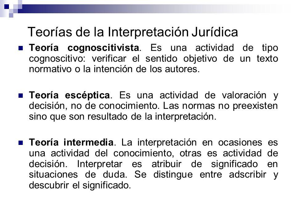 Teorías de la Interpretación Jurídica Teoría cognoscitivista. Es una actividad de tipo cognoscitivo: verificar el sentido objetivo de un texto normati