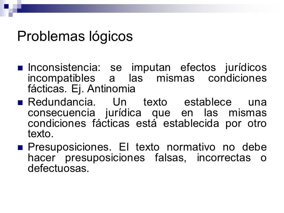 Problemas lógicos Inconsistencia: se imputan efectos jurídicos incompatibles a las mismas condiciones fácticas. Ej. Antinomia Redundancia. Un texto es