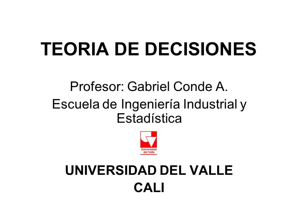 TEORIA DE DECISIONES Profesor: Gabriel Conde A. Escuela de Ingeniería Industrial y Estadística UNIVERSIDAD DEL VALLE CALI