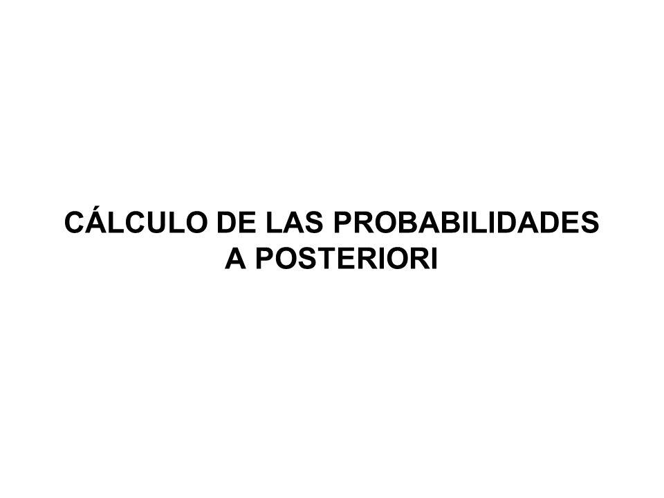CÁLCULO DE LAS PROBABILIDADES A POSTERIORI