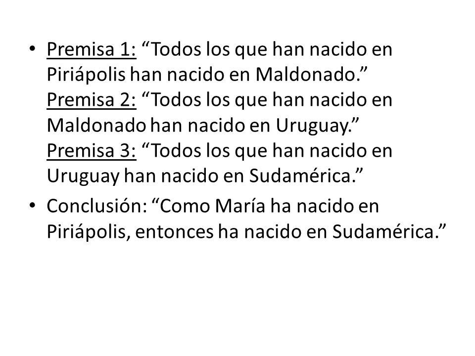 Premisa 1: Todos los que han nacido en Piriápolis han nacido en Maldonado. Premisa 2: Todos los que han nacido en Maldonado han nacido en Uruguay. Pre