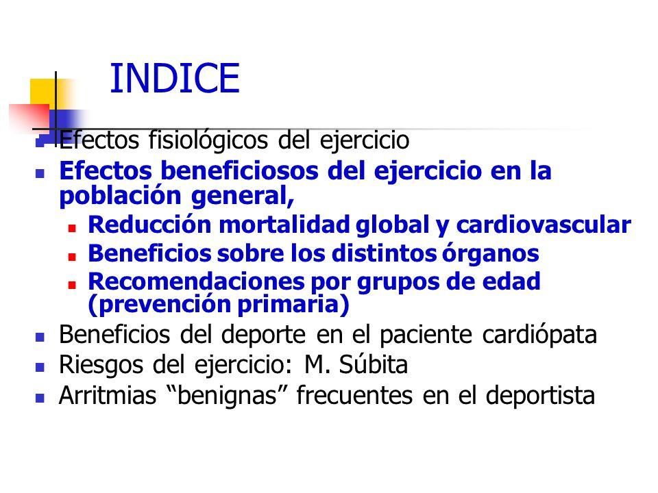 INDICE Efectos fisiológicos del ejercicio Efectos beneficiosos del ejercicio en la población general, Reducción mortalidad global y cardiovascular Ben