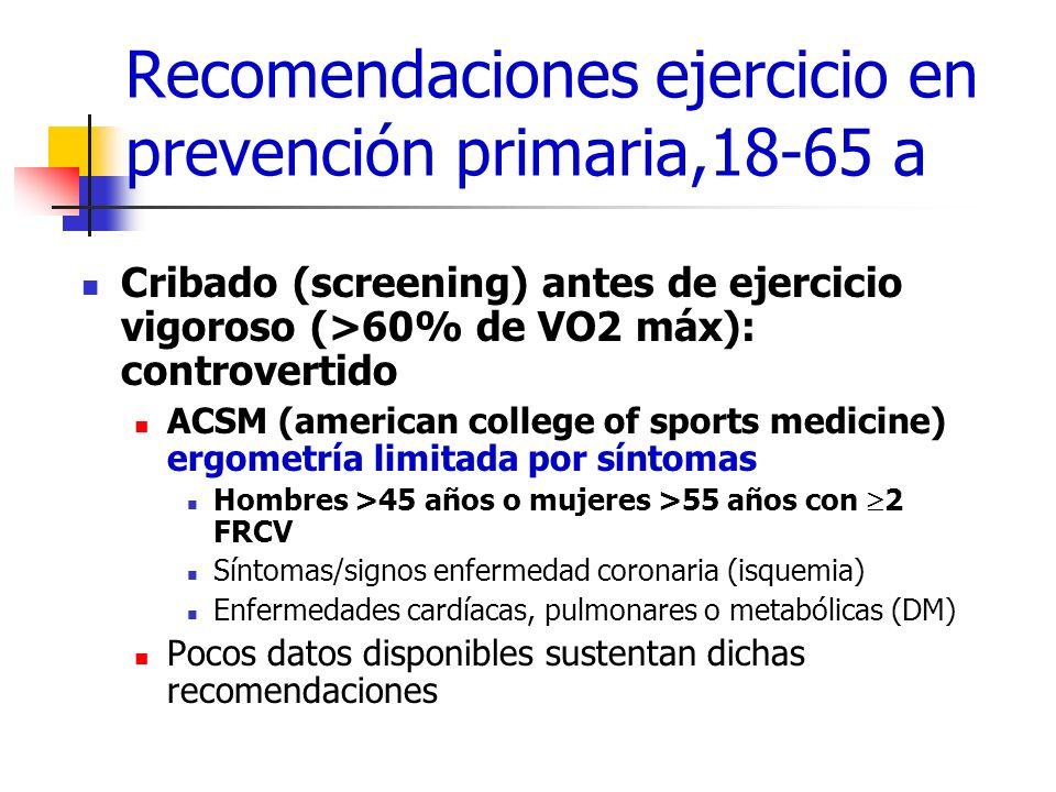 Recomendaciones ejercicio en prevención primaria,18-65 a Cribado (screening) antes de ejercicio vigoroso (>60% de VO2 máx): controvertido ACSM (americ